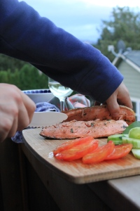 one of Jared's meals…salmon, veggies, great wine, al fresco